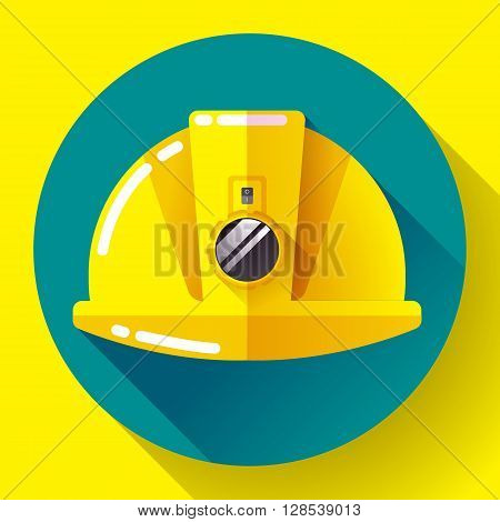Yellow construction worker helmet with flashlight icon. Flat design style