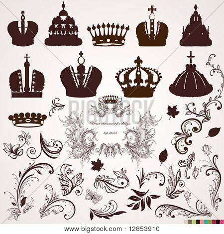 Set of crowns and vintage ornaments for design.