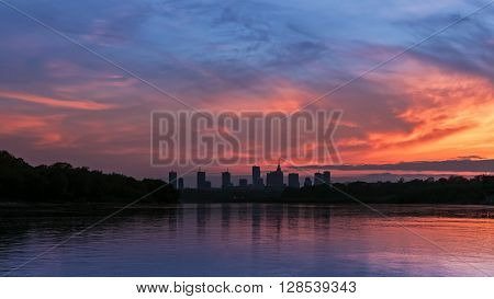Silhouette of the city of Warsaw during sunset
