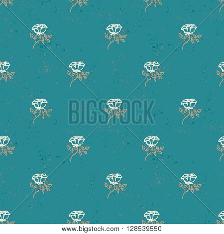 Vintage floral pattern with small white roses on jade green background. Grunge retro print with flowers and leaves for summer spring fashion. Seamless hand drawn graphic for soap package design