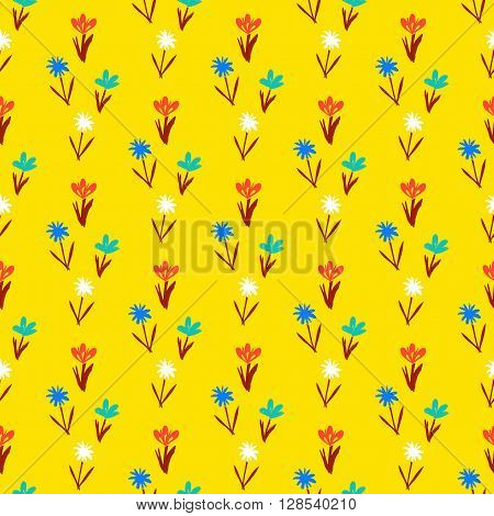 Ditsy spring floral pattern with small hand drawn flowers on yellow background. Seamless vector vintage texture. Colorful artistic grunge print for spring summer fashion or wedding invitation