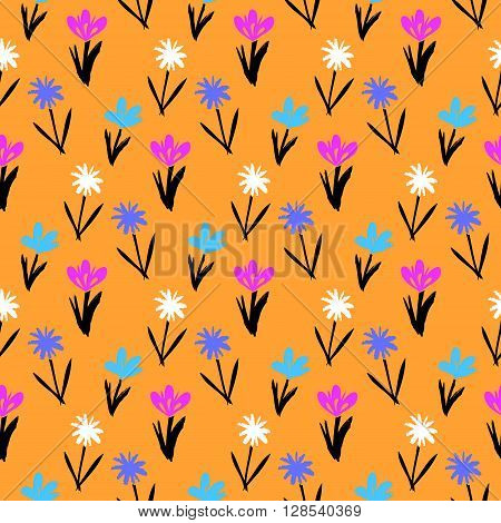 Ditsy spring floral pattern with small hand drawn flowers on orange background. Seamless vector vintage texture. Colorful artistic grunge print for spring summer fashion or wedding invitation