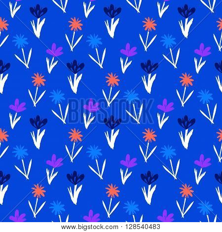 Ditsy spring floral pattern with small hand drawn flowers on blue background. Seamless vector vintage texture. Colorful artistic grunge print for spring summer fashion or wedding invitation