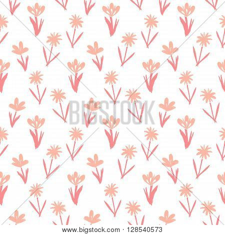 Ditsy spring floral pattern with small hand drawn pink flowers on white background. Seamless vector vintage texture. Colorful artistic grunge print for spring summer fashion or wedding invitation