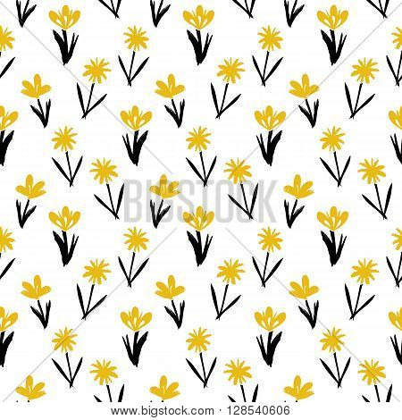 Ditsy spring floral pattern with small hand drawn gold flowers on white background. Seamless vector vintage texture. Colorful artistic grunge print for spring summer fashion or wedding invitation
