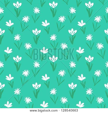 Ditsy spring floral pattern with small hand drawn white flowers on bright blue background. Seamless vector vintage texture. Colorful artistic grunge print for spring summer fashion.