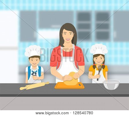 Mother and kids bake together at kitchen. Mom kneads pastry happy little son and daughter help her. Asian family bake home cookies pie or cake. Vector flat illustration. Leisure activity background
