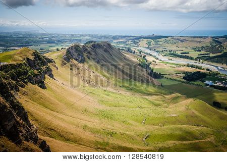 View of the Tukituki river valley and Hawkes Bay from Te Mata Peak New Zealand