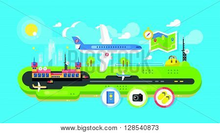 Airport building infrastructure. Travel air transport, terminal passenger, vector illustration