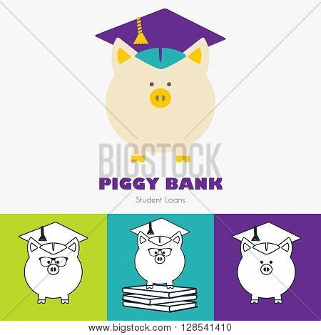 Piggy Bank in Graduate Hat vector sign set in flat & line styles. Educational icon business sign template set. Student loan financial aid money saving plan for high education concept. Sample text. Layered editable design