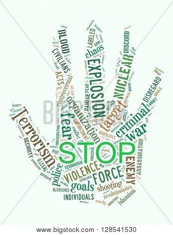 Stop Terrorism, Stop War, Stop Violence, Word Cloud Concept 2