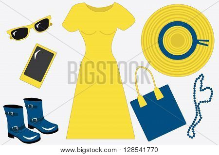 Beauty spring/summer set for woman, flat, vector: a wide-brimmed hat, a yellow dress, a mobile phone, sunglasses and blue bag, boots and beads