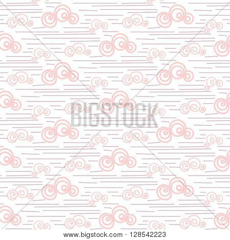 Baby vector seamless pattern. Pastel pink fun windy sky clouds print for textile. Kids room decor print for wall, linen, surfaces.