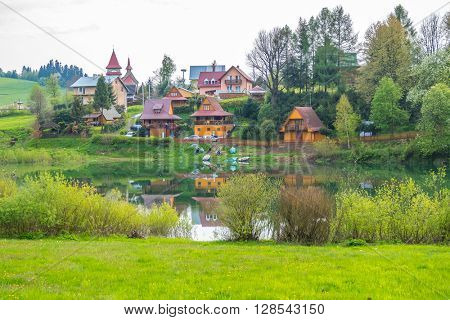 Zawoz - small village on Solina lake shore (Bieszczady mountains, Poland), in the beginning of May