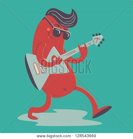 Vector illustration of a cartoon rockabilly sausage playing an electric guitar.