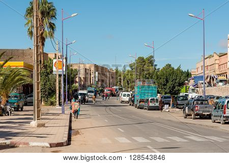 TALIOUINE MOROCCO - OCTOBER 27 2015: View of the town of Taliouine a town in Taroudannt Province Souss-Massa-Drâa Morocco.