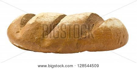 Traditional homemade bread isolated on a white background.