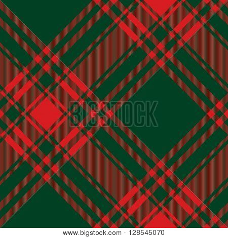 Menzies tartan green red kilt diagonal fabric texture seamless pattern.Vector illustration. EPS 10. No transparency. No gradients.