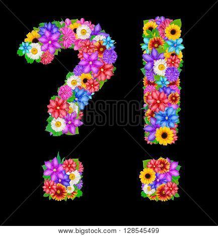 flower punctuation marks isolated on black background