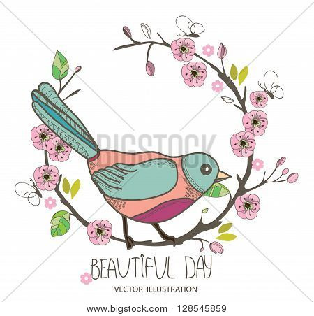 beautiful spring background with pattern birds on a branch with pink blossoms