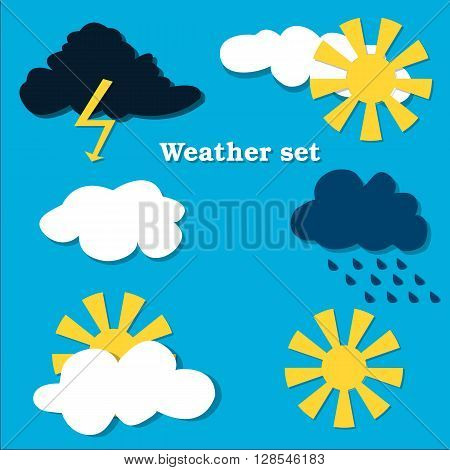Flat design weather icons set. Vector illustration. Weather flat  vector  collection. Blue background.