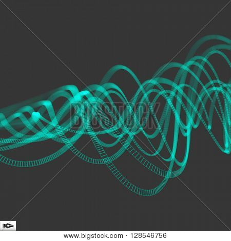 Wave with Connected Lines. Connection Structure. Abstract Dynamic Background. Wireframe Vector Illustration.
