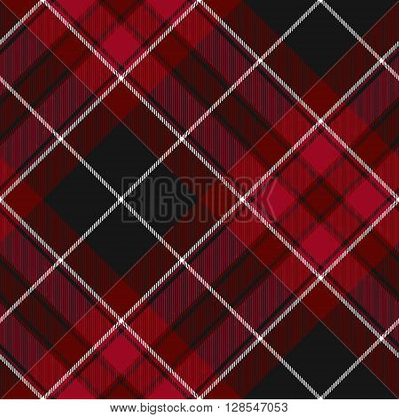 Pride of wales fabric texture red and black diagonal tartan seamless pattern. Vector illustration. EPS 10. No transparency. No gradients.