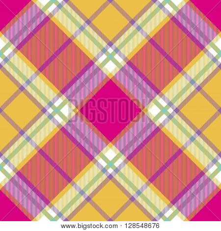 yellow pink indian madras diagonal fabric texture seamless pattern. Vector illustration. EPS 10. No transparency. No gradients.