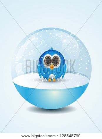 cartoon blue bird inside shiny snow dome
