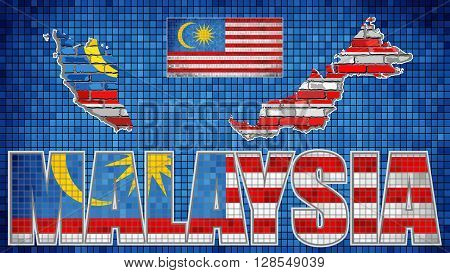 Malaysia map on a brick wall - Illustration, 