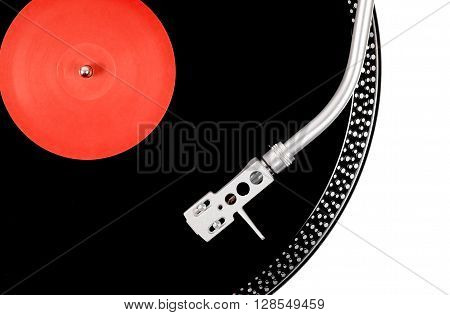Turntable Needle On The Black And Red Plate