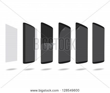 Black smart phones protection film on screen set different angles. Vector illustration. EPS 10. No gradients. Raw materials are easy to edit.