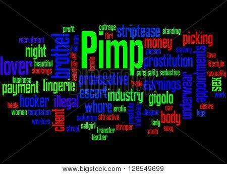 Pimp, Word Cloud Concept