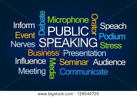Public Speaking Word Cloud on Blue Background