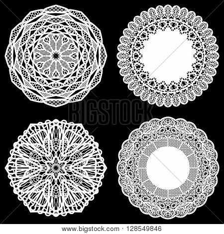 Set of design elements lace round paper doily doily to decorate the cake doily under the plates festive doily white doily lacy snowflake greeting element package vector illustrations