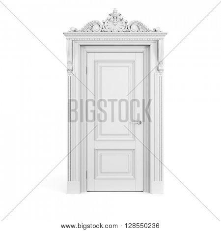 3d vintage white door