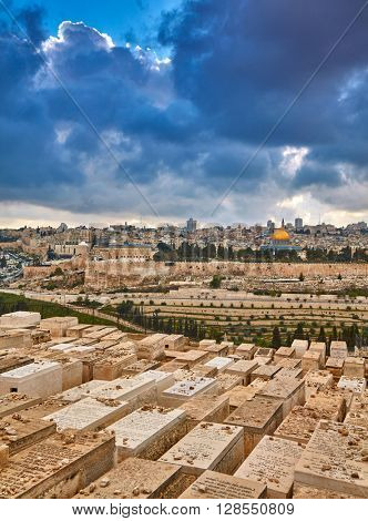 JERUSALEM, ISRAEL - MARCH 28, 2016: View to jewish cemetary and old Jerusalem on March 28