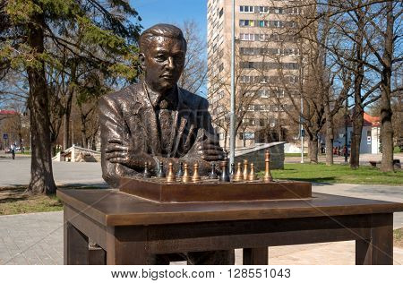 Narva Estonia - May 4 2016: monument to the famous Estonian chess player Paul Keres. Installed near Peter's Square. Close-up.