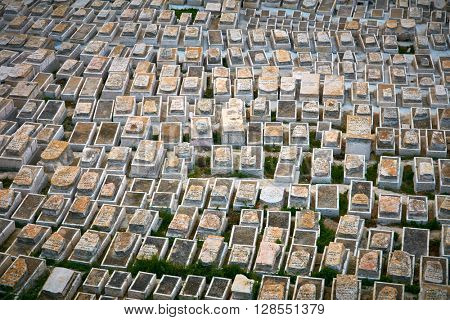 JERUSALEM, ISRAEL - MARCH 28, 2016: View to old jewish cemetary in Jerusalem on March, 28