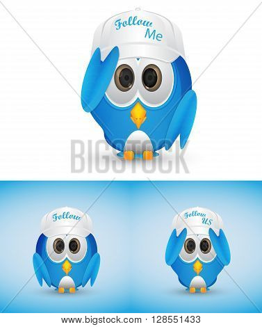 blue bird standing wearing white hat isolated