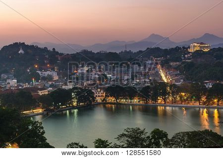 An aerial view of Kandy nestled amongst the mountains in Sri Lanka.