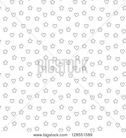 Favorite stars and hearts seamless pattern. Vector illustration. EPS 10.