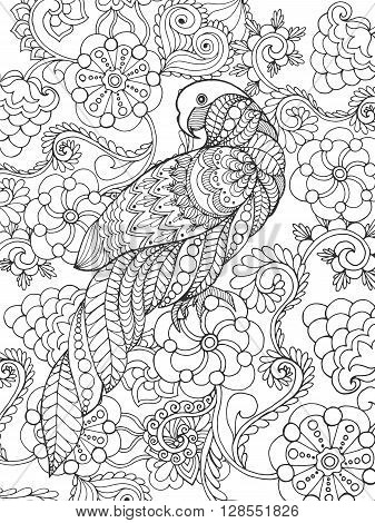 Parrot in fantasy garden. Animals. Hand drawn doodle. Ethnic patterned illustration. African, indian, totem tatoo design. Sketch for avatar, tattoo, poster, print or t-shirt.