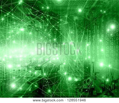 Best Internet Concept of global business.Technological green background. Rays  symbols Wi-Fi,  of the Internet, television, mobile and satellite communications