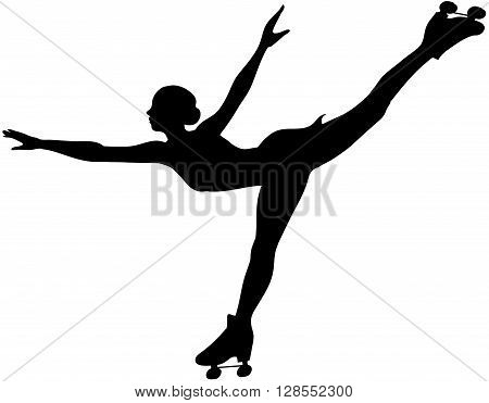 Black vector clipart silhouette of roller skater
