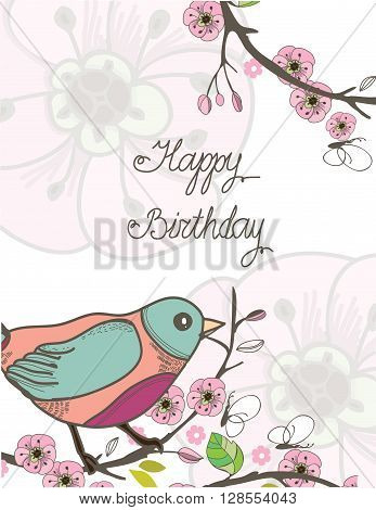 spring vector background with beautiful pattern of branches with leaves and birds on a white background and the words happy birthday