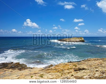 Clear azure sea water landskape and rocks near Crete coast Greece