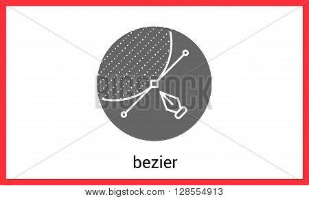 Bezier curve contour outline eps vector icon.