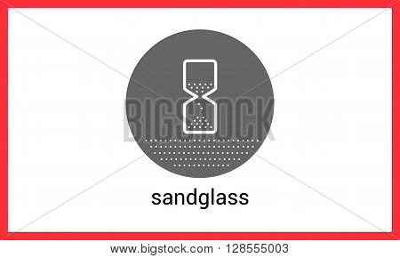 Sandglass contour outline vector icon. Hour-glass linear pictogram