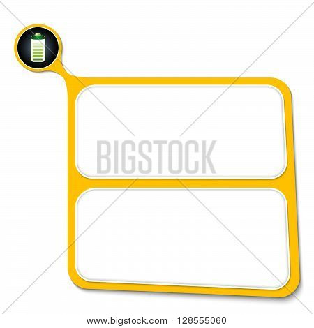 Abstract yellow box for your text and battery icon